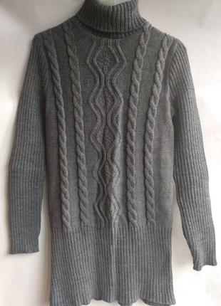 Удлиненный вязаный свитер