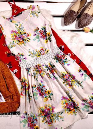 Шифоновое платье беж в цветы