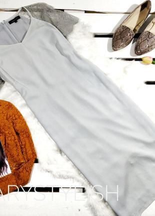 Серое шифоновое красивое платье с кружевом реснички на плечах