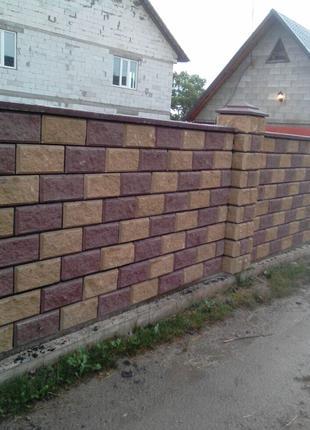 Вибропрессованный Декоративный Заборный Блок,Одно-Двухсторонний.