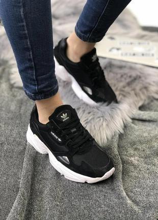 Кроссовки женские adidas falcon core black cloud white (w) чер...