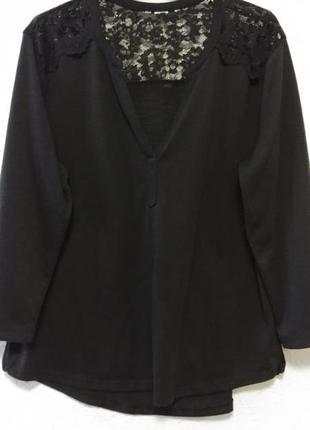 Черная туника блуза блузка рубашка футболка с кружевом h&m р.4...