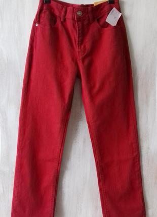 Яркие джинсы stradivarius высокая талия, укороченные, прямые, ...