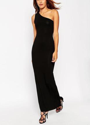 Черный сарафан , платье в пол по фигуре на одно плечо ( вискоз...