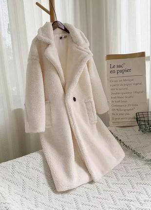 Стильное трендовое плюшевое пальто пальтишко шубка оверсайз те...