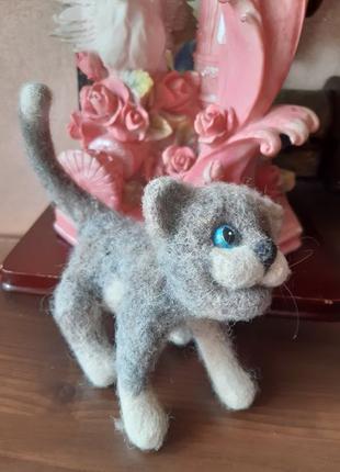 Валяная игрушка котенок кот кошка