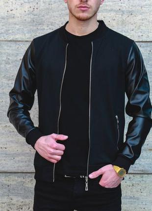 Стильный мужской Бомбер с рукавами из кожи Куртка на Осень вет...