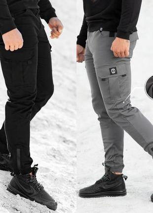 Теплые Карго Штаны Спортивные на Флисе мужские зимние брюки дж...