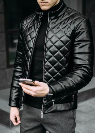 Бомбер из эко-кожи куртка ветровка мужская весна осень мастерка