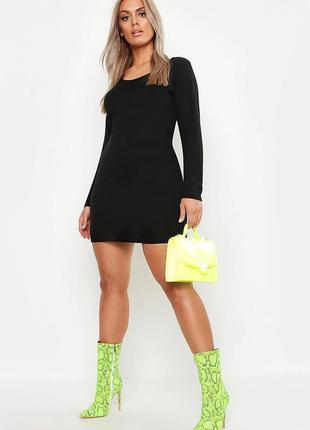 Платье в рубчик с длинным рукавом plus size / сукня в рубчик з...