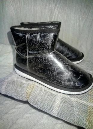 Угги силикон мех женские ботинки