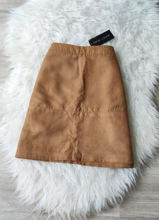 Новая юбка-трапеция под замшу new look