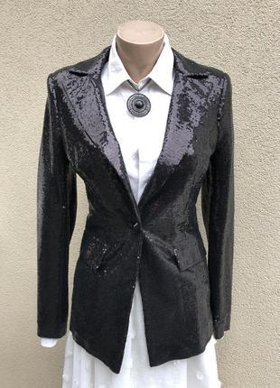 Новый,чёрный жакет,пиджак,блейзер,пайетки,вечерний,