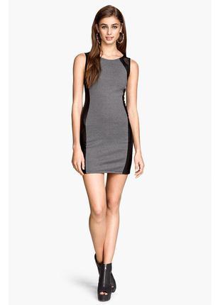 Акция! 1+1=3 короткое платье с вставками под кожу h&m
