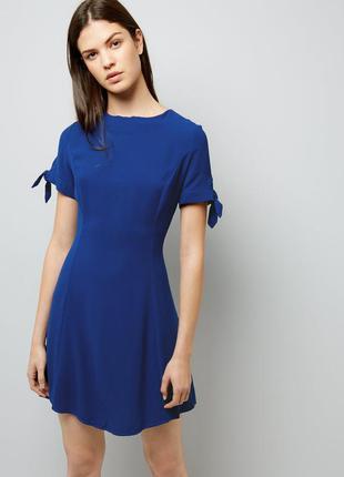 Новое синее платье с завязками на рукавах new look