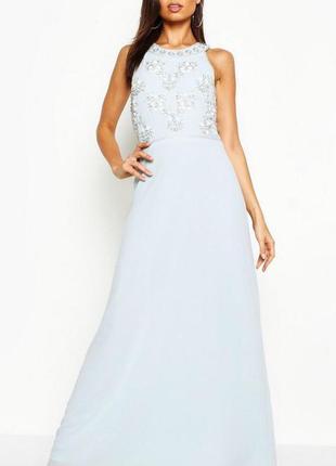 Платье вечернее на выпускной расшитое бусами и бисером boohoo ...