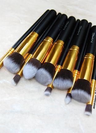 Профессиональный набор кистей для макияжа 10 шт полноразмерные...