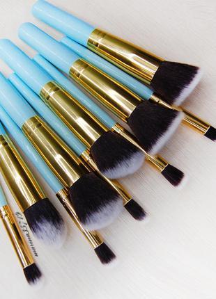 Профессиональный набор кистей для макияжа 10 шт, длина 15см