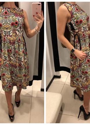 Платье на шнуровке topshop/платье летнее/вискоза/цветочный принт