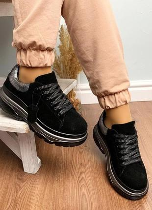 Новые шикарные женские черные замшевые кроссовки