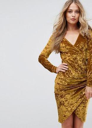 Платье миди горчичное