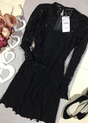 Новое! zara! красивое кружевное платье.