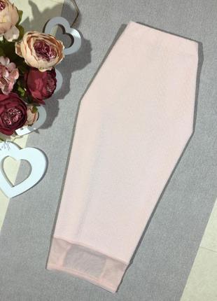 Шикарная юбка карандаш структурной ткани со вставкой сетка.