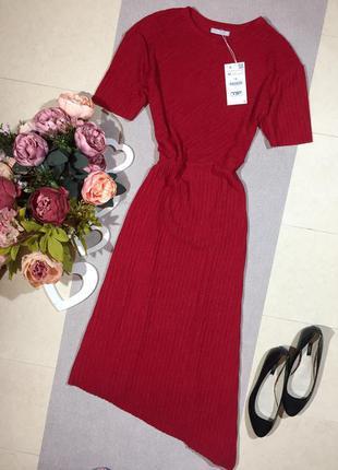 Zara!!! новое!!! брендовое шикарное платье с ассиметрией.