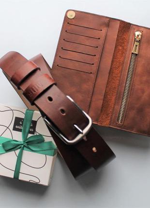 Подарочный набор ремень + кошелек