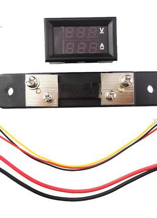 Вольт-амперметр с шунтом 50 А постоянного тока DC 0-100V