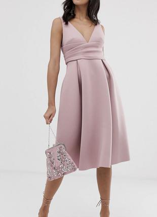 вечернее нежное нарядное платье из неопрена Asos. Разм М