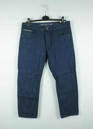 Шикарные укороченные качественные джинсы selected indigo selve...