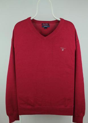 Оригинальный яркий свитер gant big and tall men's red v-neck s...
