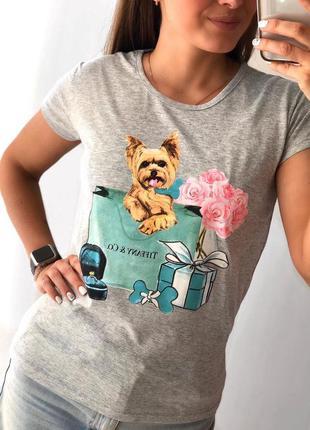Футболка женская с рисунком собачка