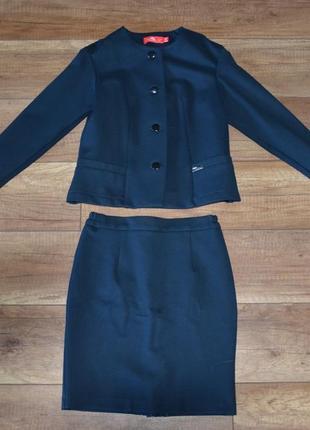 Школьная форма зеленая пиджак и юбка piccolo l 134-140 см, 9-1...