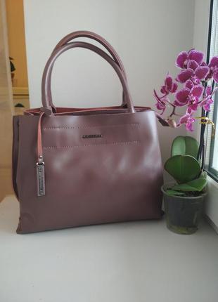 Женская кожаная сумка нюдовая жіноча шкіряна сумка