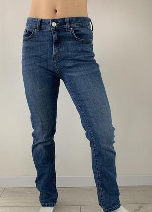 Джинсы классические, голубые удобные джинсы с плотного материа...