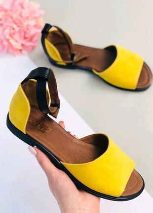 Женские натуральные замшевые босоножки сандали