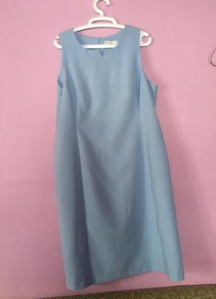 Платье небесного цвета большой размер для пышной дамы голубое ...