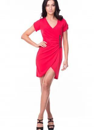 Платье женское летнее на запах красного цвета, платье молодежное
