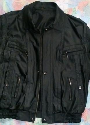 Куртка кожаная мужская черная