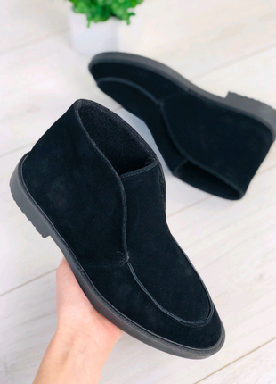 Женские натуральные демисезоные замшевые ботинки лоферы
