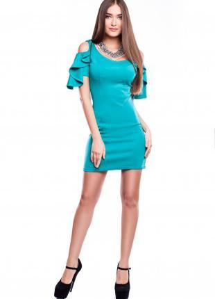 Платье женское нарядное облегающее по фигуре бирюзового цвета