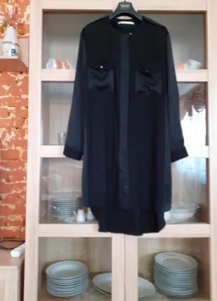 Очень стильное вискозное платье рубашка с карманами и погонами...