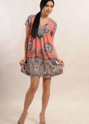 Платье туника летняя молодежная свободного покроя, платье нарядно