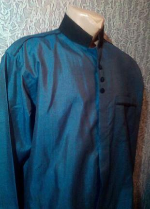 Мужская рубашка, синяя. cluster.