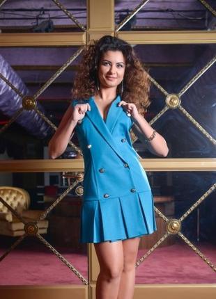 Платье женское голубого цвета, юбка в складку, платье молодежное