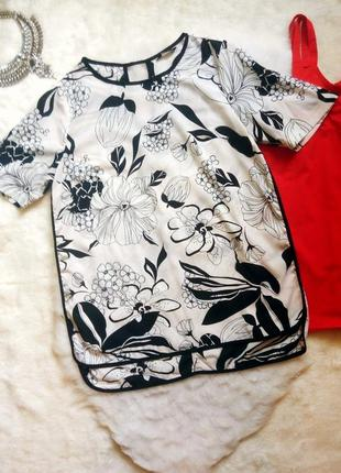 Белая ассиметричная блуза туника футболка шифон с черным цветн...