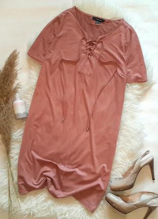 Платье-футболка под замшу с шнуровкой спереди, платье под замш...