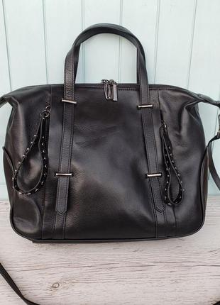 Женская кожаная сумка черная вместительная большая жіноча шкір...